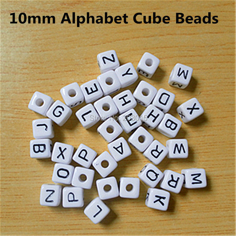 500pcs  10*10mm white Plastic Acrylic Alphabet Cube Letter Beads square beads 3mm hole Individual Singel Letter