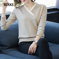 XJXKS Wool Sweaters High Quality Ladies Jumper Women Sweater Autumn And Winter Clothes Women Pullover Befree Solid Sweater