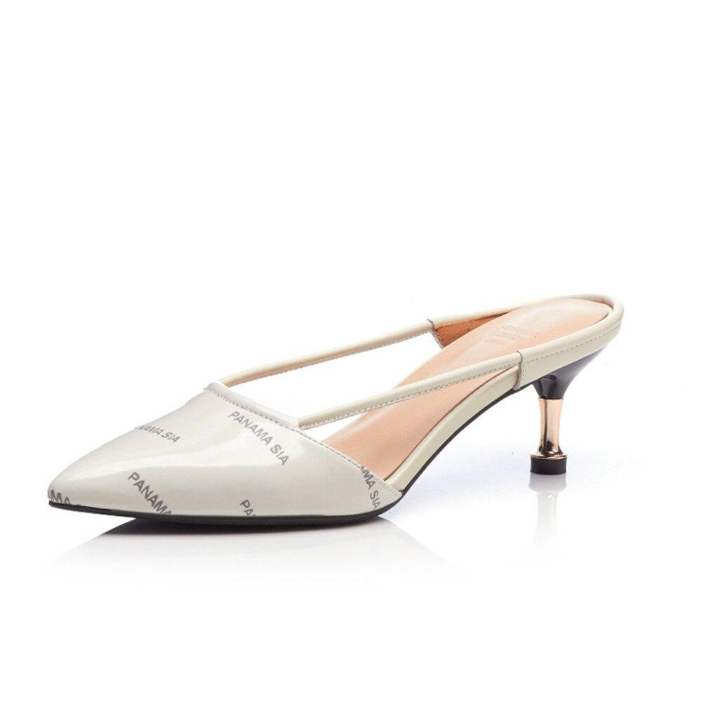 f0b473861650e4 Femme D'été Sandales Cuir 2018 Femmes Véritable Talons blanc Arrivée  Chaussures Smirnova Talon Nouvelle Mince Hauts ...