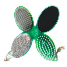 Fashion 4 In 1 ABS Multi-Color Pedicure Tool Foot Nail Buffer Brush Callus Rasp