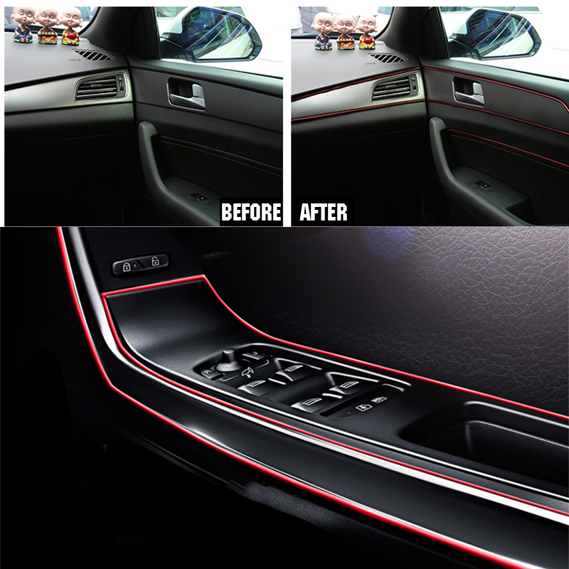 Image 2 - 5M Red Car Interior Moulding Trims Line Strips Car Styling Door Dashboard Air Outlet Decorative Sticker Auto Accessories-in Car Stickers from Automobiles & Motorcycles