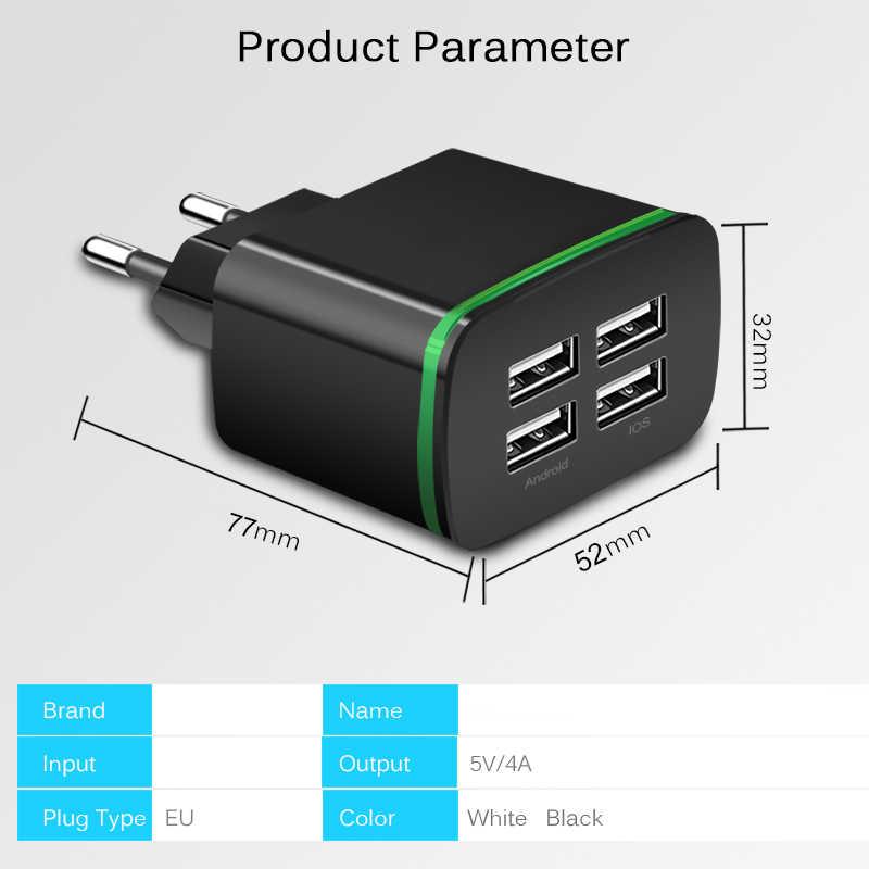 Универсальное 4-портовое usb-зарядное устройство В 5 в 4A/2A 4 usb-порта умное настенное зарядное устройство дорожсветодио дный лампа с вилкой EU для iPhone samsung LG