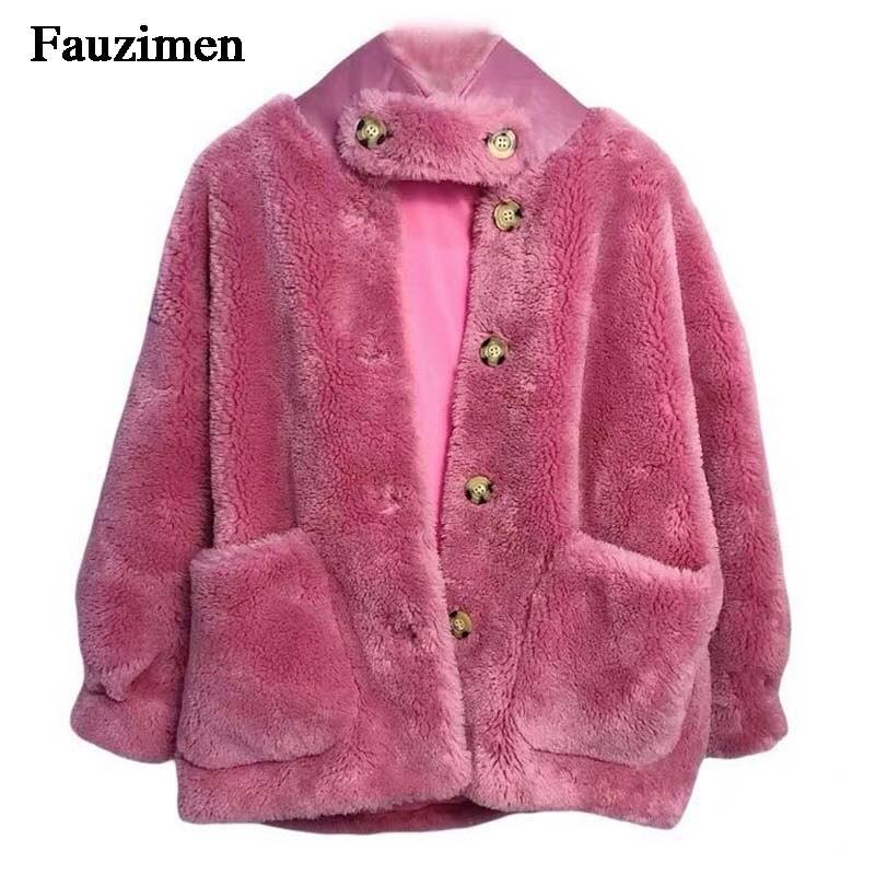En Veste camel Manteau Style Mode Naturel Fourrure Moutons hot Peau Teddy Mouton Manteaux Nouvelle Véritable Pink Ivory Tendance Femmes De Réel Agneau Laine qfOXBawnx