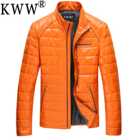 2015 New Korean Slim Men S Leather Sheep Skin Genuine Leather Jacket Men Warm 100 Winter