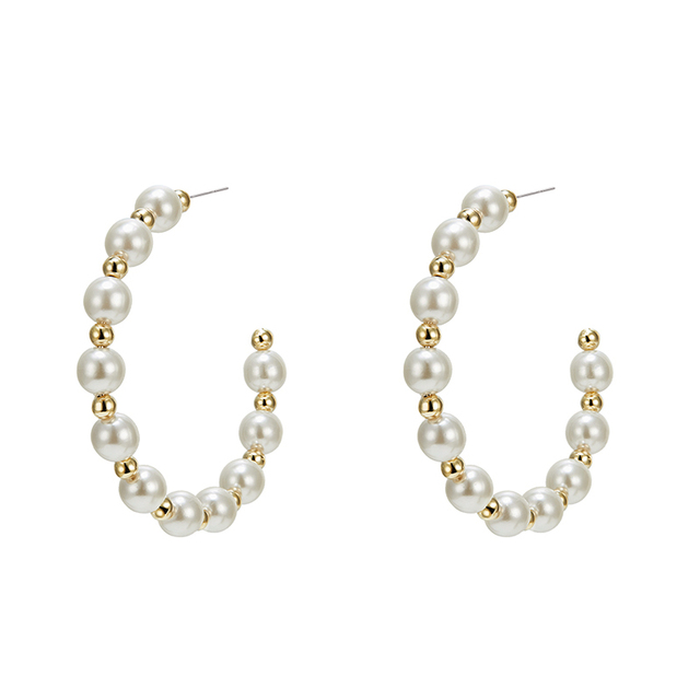 Lwong New Boho Chic Pearls Half Hoop Earrings For Women Simple Statement Pearl Beaded Large