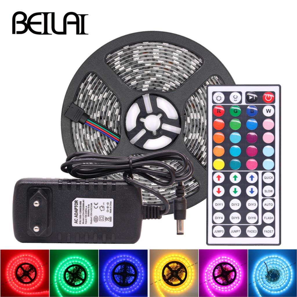 10M 5M RGB LED Strip 5M 5050 SMD LED Light Tape Flexible Ribbon Waterproof IR Remote Controller DC 12V Power Adapter Full set
