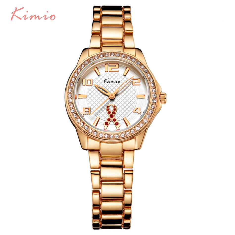 KIMIO Ribbon Fluttering Diamond Hollow Needle Rose Gold Watch Kvinnor Klänning Armband Luxury Brand Armbandsur Klockor Kvinnor