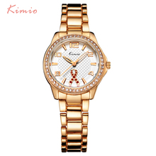 KIMIO Ribbon Fluttering Diamond Hollow Needle Rose Gold Watch Women Dress Bracelet Luxury Brand Wrist Watches For Women Clock kimio womans watch ladies camellia flower watch rose gold bracelets for women luxury brand quartz dress wrist watches for women