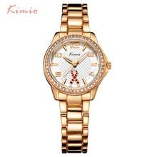 KIMIO Ribbon Fluttering Diamond Hollow Needle Rose Gold Watch Women Dress Bracelet Luxury Brand Wrist Watches For Clock