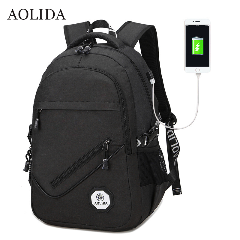 AOLIDA Backpack Men Women Canvas Bag Backpacks Men Travel USB Designer Capacity Male Backpack For School Girls Boys Black 2017 canvas backpack women for teenage boys school backpack male