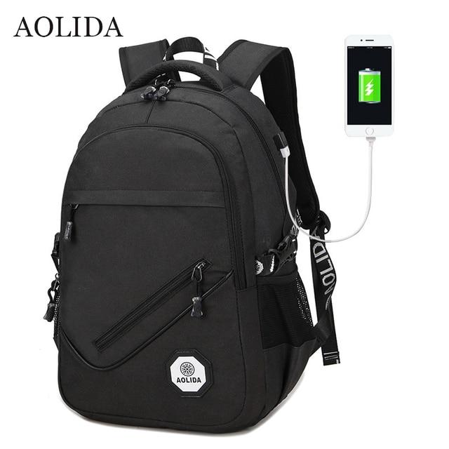 40bc69f3b026 AOLIDA Backpack Men Women Canvas Bag Backpacks Men Travel USB Designer  Capacity Male Backpack For School Girls Boys Black 2019