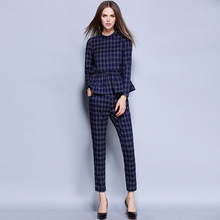 Msguide Womens Elegant Autumn Colorblock Tartan Check Plaid Peplum Pocket Wear To Work Office Tops & Pants Suit 2 Piece Sets 986