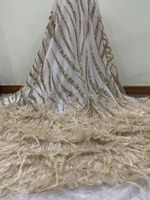 3D lace fabric with Ostrich feather PWD18122302 Glued glitter sequins lace fabric for haute couture dress