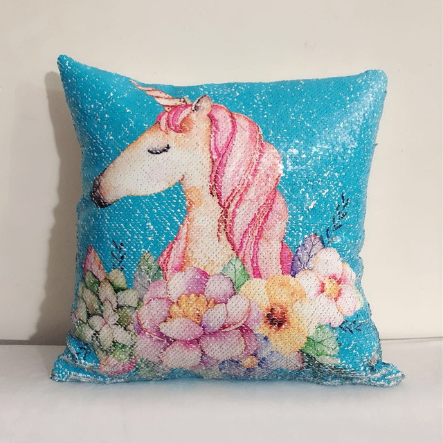 Sequins Reversible Color Changing Unicorn Cushion Cover
