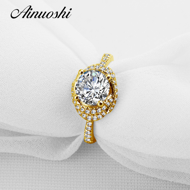 AINUOSHI 10k Solid Yellow Solid Gold Luxury Wedding Ring 2 Carat Round Cut Simulated Sona Diamond Jewelry Women Engagement Rings ainuoshi 10k solid yellow gold wedding ring sona simulated diamond jewelry lady anillos new flower shape women engagement rings