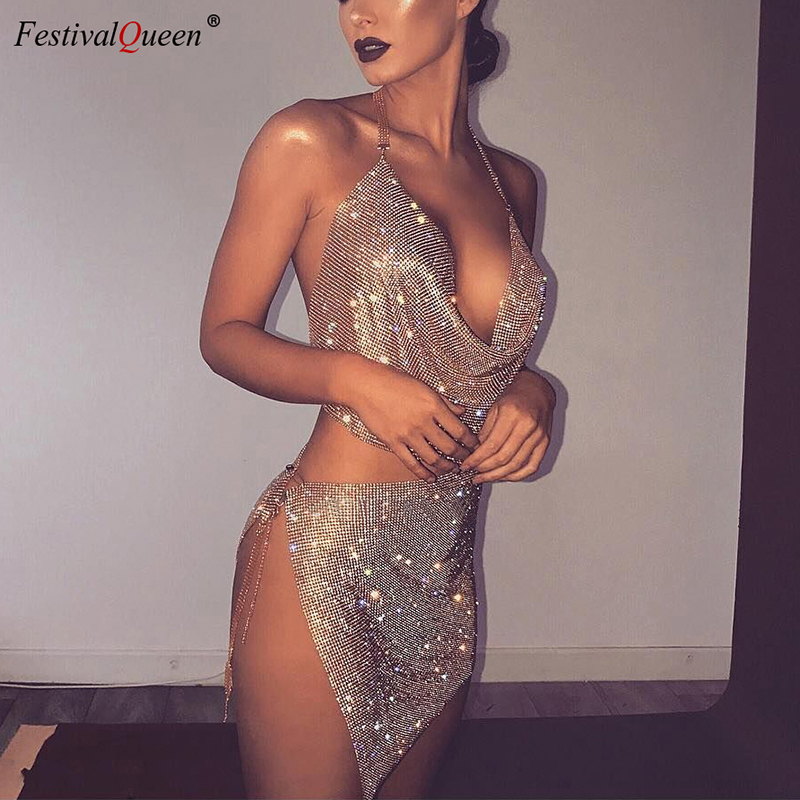 FestivalQueen Women's Rhinestone Sequin Set Sparkly Gold Silver Halter Backless Deep V Crop Top Crystal Metal Split Mini Skirt