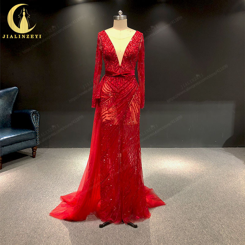 JIALINZEYI Real Sample Red Long Sleeves Beads Sexy V Neck Crystal Mermaid Formal Dresses Party Evening Dresses