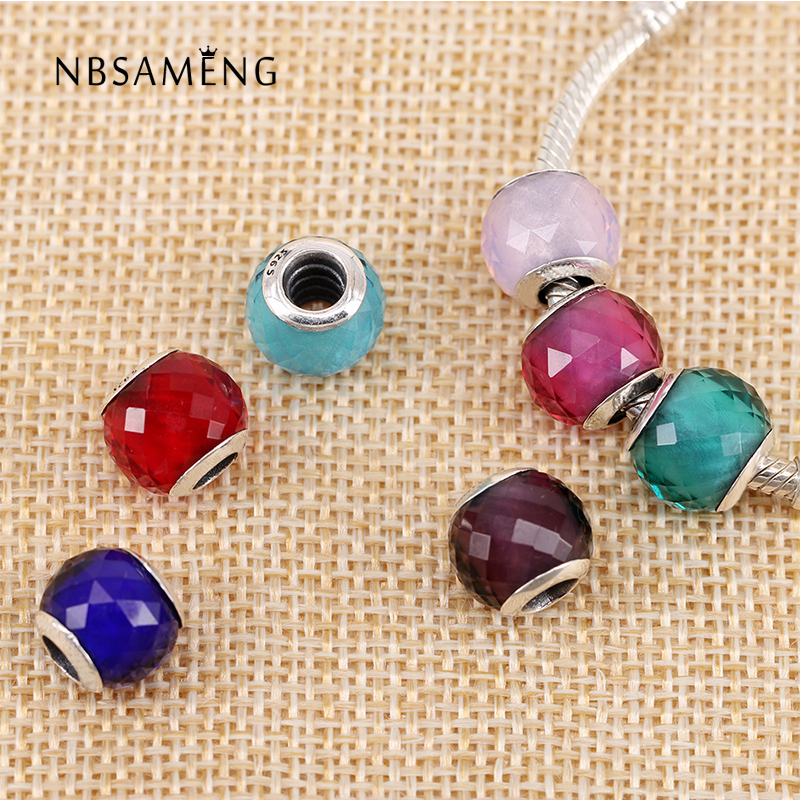 Authentic 925 Sterling Silver Opalescent Geometric Facets Murano Glass Beads Fit Original Pandora Charm Bracelet DIY Jewelry