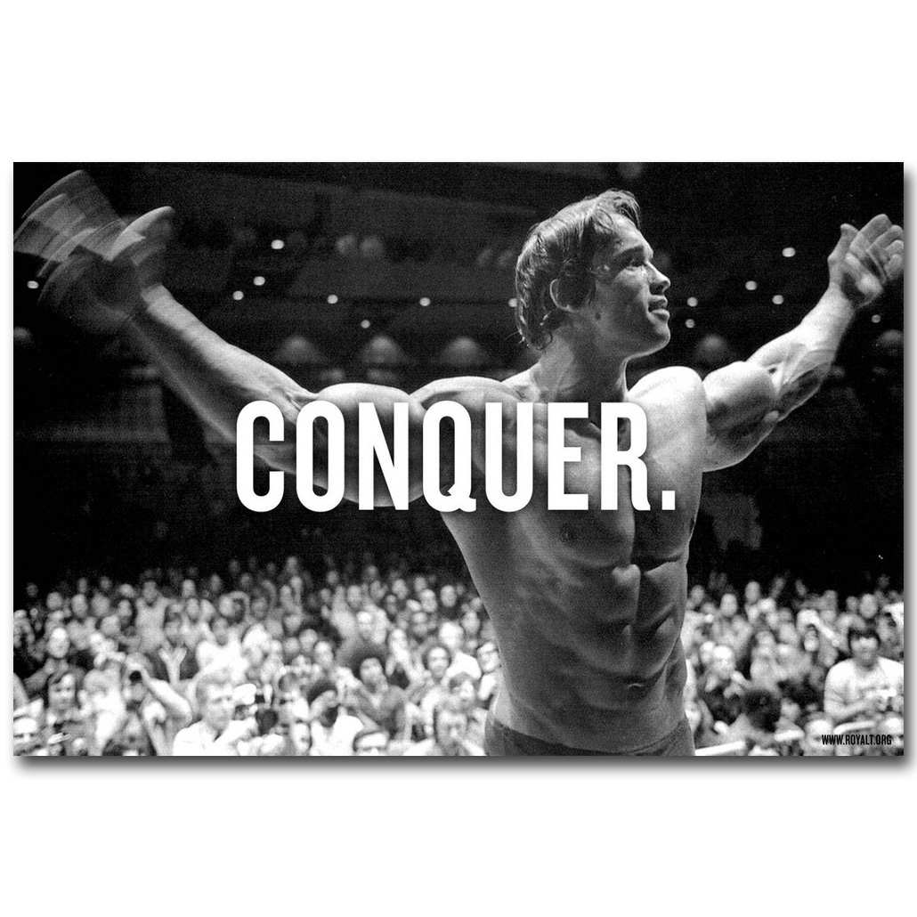 CONQUER - Arnold Schwarzenegger Bodybuilding Motivational Quote Art Silk Affischtryck Inspirerande Bild till Room Wall Decor