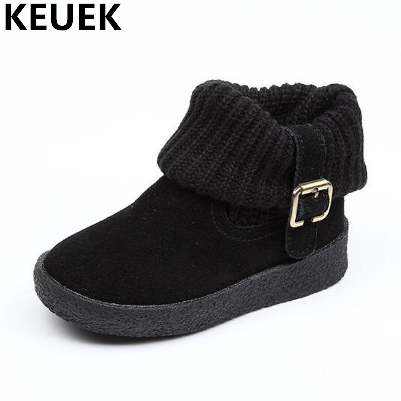 NEW Autumn/Winter Children Shoes Boys Girls Genuine Leather Boots Baby Student Casual Warm Ankle Motorcycle Boots Kids 044