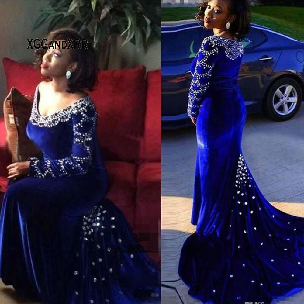 2018 Charming Royal Blue Crystal Mermaid   Prom     Dresses   Long Sleeves Appliques Beaded Sweep Train Zipper Back Evening Gowns
