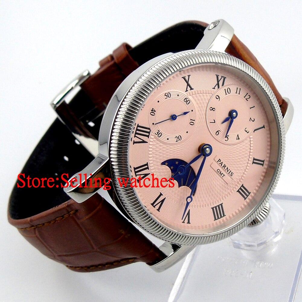Parnis 43mm luksusowe biały Dial mechaniczny zegarków GMT skórzany pasek ręcznie nakręcany 6497 mężczyzna zegarek w Zegarki mechaniczne od Zegarki na  Grupa 2