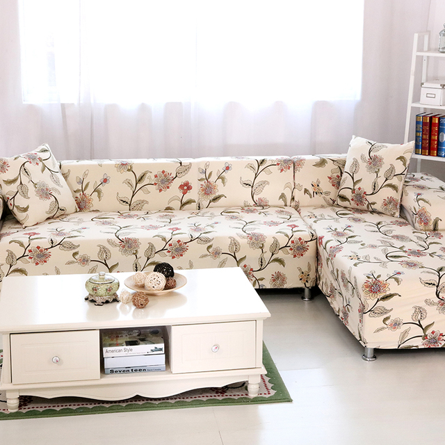 Universal Stretch Couch Sofa Covers 2pcs Polyester Corner Sofa Slipcovers  2pcs Soft Cushion Covers Home Decoration