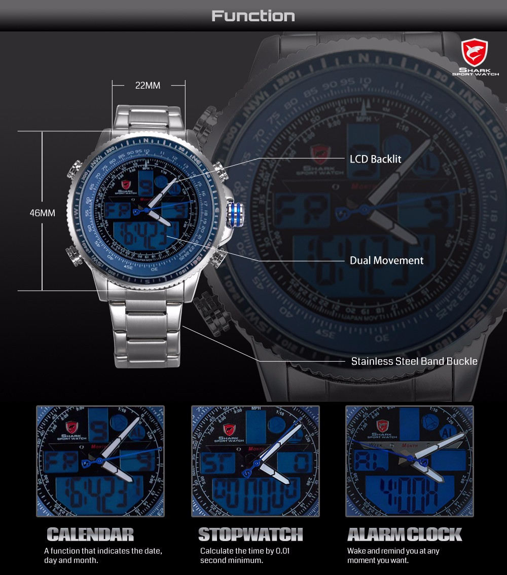 Topdudes.com - Winghead SHARK Casual Fashion Quartz LCD Digital Dual Time Chronograph Waterproof Wristwatches