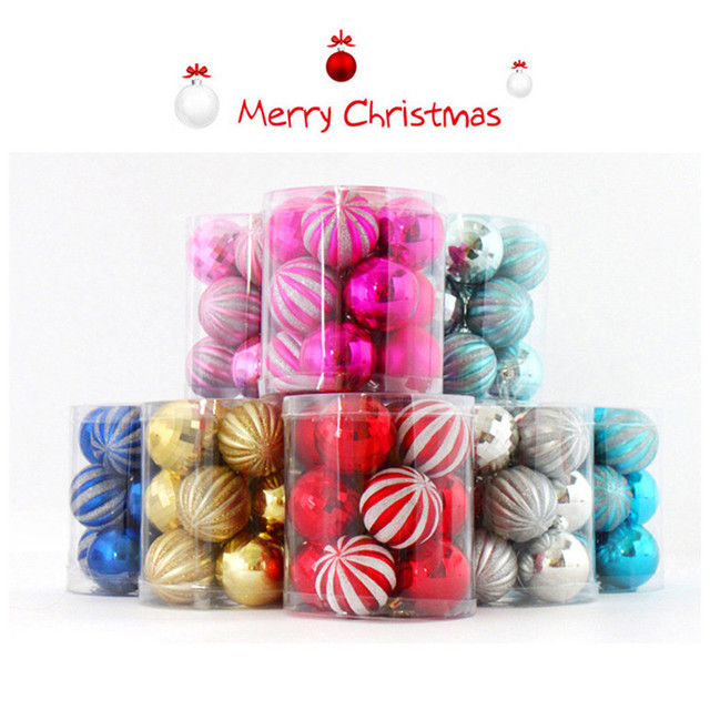 Colorful Christmas Balls.12pcs Set Colored Drawing Christmas Balls Colorful Christmas Tree Decorative Balls Xmas New Year Hanging Ornaments Supplies In Ball Ornaments From