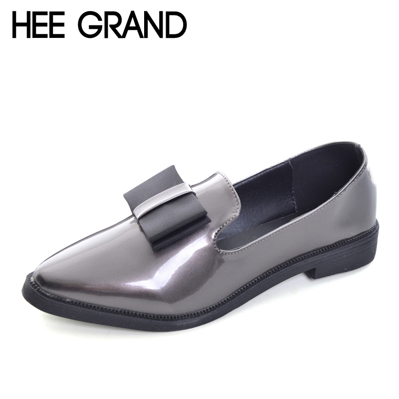 HEE GRAND 2017 New Oxfords Bowtie Platform Shoes Woman Casual Loafers Poined Toe Women Brogue Shoes Slip On Flats XWD5785 hee grand spring platform women pumps with bowtie patent leather shoes woman round toe slip on loafers ladies footwear xwd5975