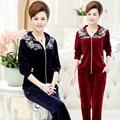 Women Suits Spring Autumn New Velvet Crown Embroidery Hooded Women'S Tracksuit Set Plus Size XL-4XL Two Piece Set J063