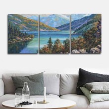 Alps Snow Mountain Boat Lake Forest Smog Wall Art Canvas Painting Nordic Posters And Prints Pictures For Living Room Decor
