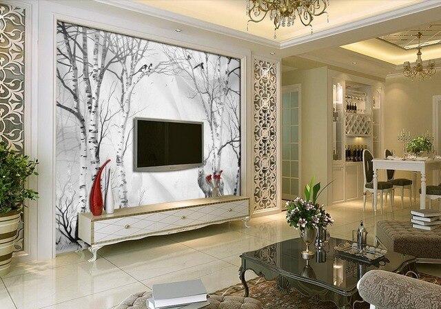 Hauptdekoration Handbemalte Europäischen White Birch 3d Tapete Für Moderne  Wohnzimmer Wand Home Dekoration
