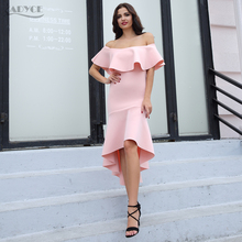 Adyce 2018 SexyWomen Midi Dress Clubwear Elegant Pink Slash Neck Patchwork Ruffles Vestidos Celebrity Evening Party Dresses