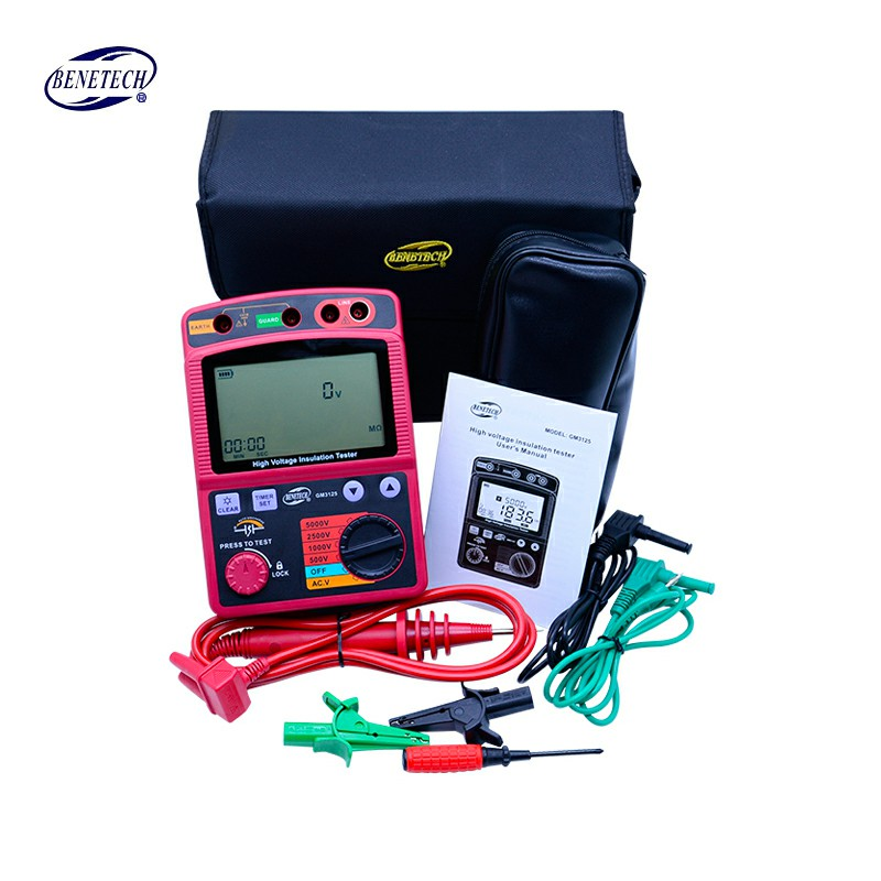 BENETECH 100% original GM3125 Digital Insulation Resistance Tester Megohmmeter 5000V Insulation megger Ohm Voltmeter electronic mastech ms5215 high voltage digital insulation resistance tester megometro megger 5000v 3ma temp 10 70c