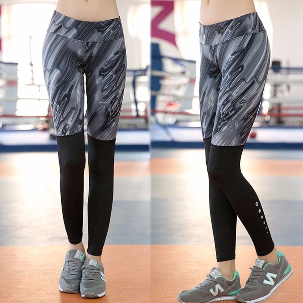 Women Soft Breathable Quick Drying High Elastic Sport Tight Yoga Leggings Floral Printed Yoga Gym Running Compress Pants Female