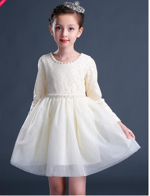 Girl's Fashion Princess Dresses 2017 Autumn Long Sleeve Kids A-line Christmas Pearl Collar Gauze CHildren's Street Style Dress pearl detail flounce sleeve pencil dress