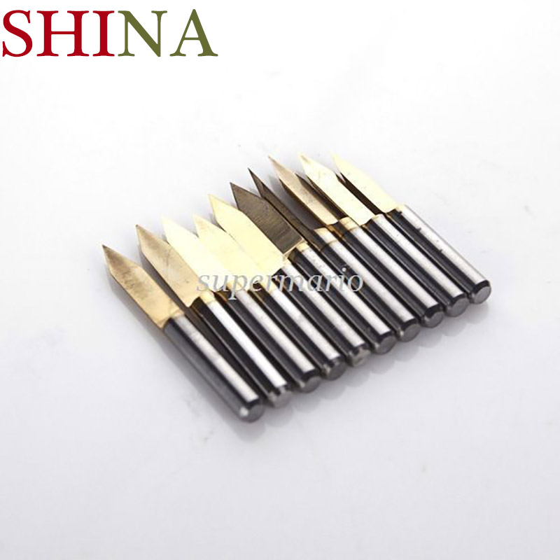10pcs/lot Shank 3.175mm Titanium Milling Cutters Coated Carbide PCB Engraving Bits  CNC Router Tool 45 Degree 0.2mm Tip End Mill free shipping 10 titanium coat carbide 1 7mm end mill engraving bits cnc rotary burrs set corn milling cutter pcb router bits