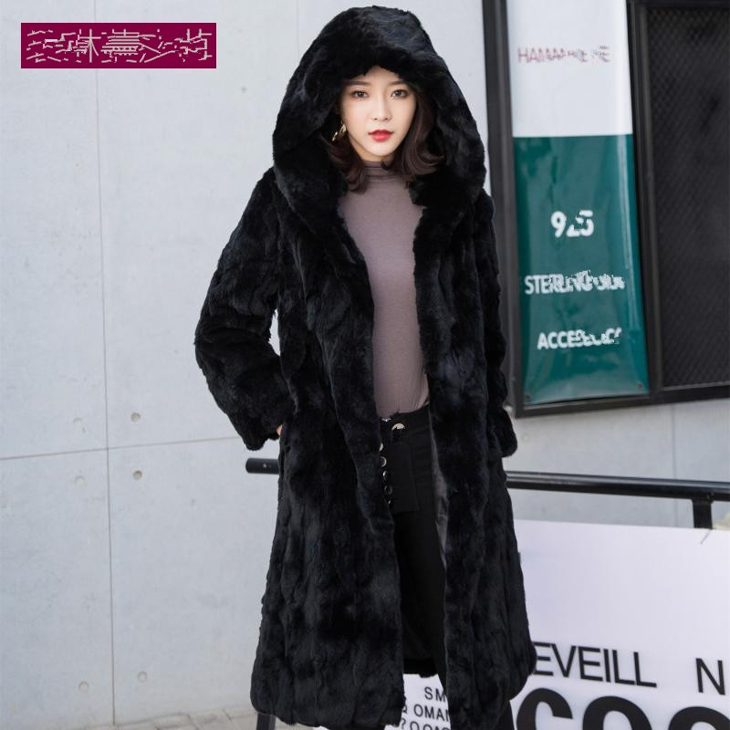 Women Real Natural Rex Rabbit Fur Coat Long Genuine Rex Rabbit Fur Winter Jacket  Outwear