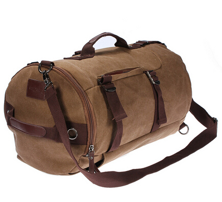 coffee Large capacity man travel bag mountaineering backpack canvas bucket shoulder bag