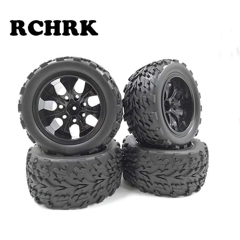 4 piezas de coche RC 1/10 HSP 12mm de llanta de la rueda de neumáticos de 115mm de diámetro ancho 55mm para 1/10 HSP 94111, 94188 de 94108 HPI