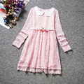 2017 new Korean trade belt long sleeve lace dress Girls Princess Dress white pink 4-8 years Wholesale and retail