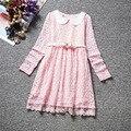2017 nova Coreano comércio cinto vestido de renda manga longa Meninas Vestido de Princesa rosa branca 4-8 anos Atacado e varejo