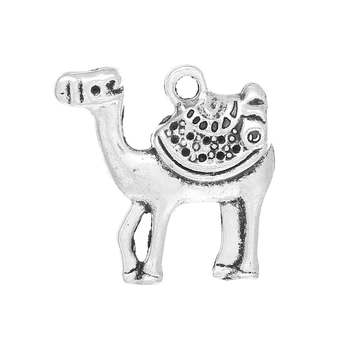 DoreenBeads aleación de metal de Zinc encanto colgantes camello de plata antiguo (puede contener ss4 de diamantes de imitación) con incrustaciones de faceteds 23mm x 23mm 4 piezas