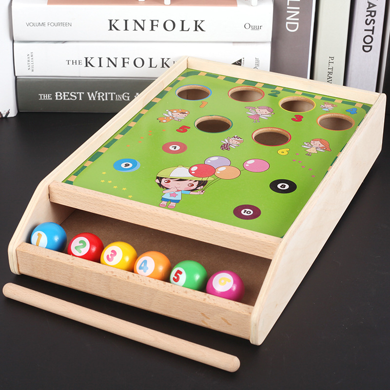 Mini Billiards Game 6 Balls Desktop Games/Table Game Child Toy Wooden Billiards Toys Classic Special Challenging Games Ball Pit