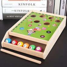 Mini billiards game 6 balls Desktop games/Table Game Child toy wooden billiards toys Classic special Challenging games ball pit factory direct wholesale billiard game billiards color matching cognitive parent child game desktop classic toys kids wood toys