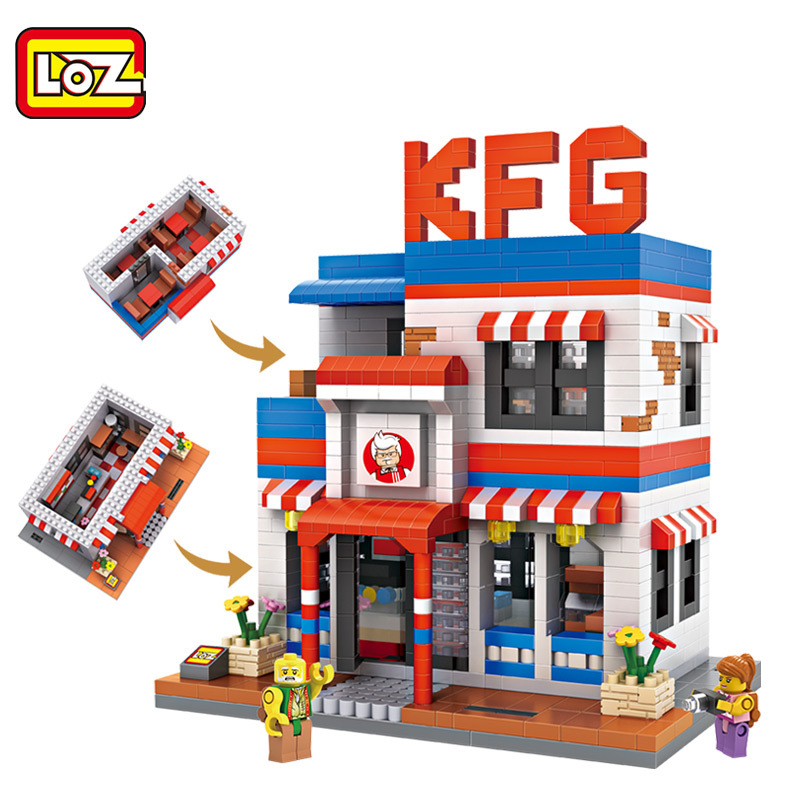 New 6pcs/lot LOZ Diamond Building Blocks Dream town KFG & Coffee Shop 3D Model Toys Children Gifts DIY Kids Intelligence Toys 4pcs lot loz christmas gifts doraemon