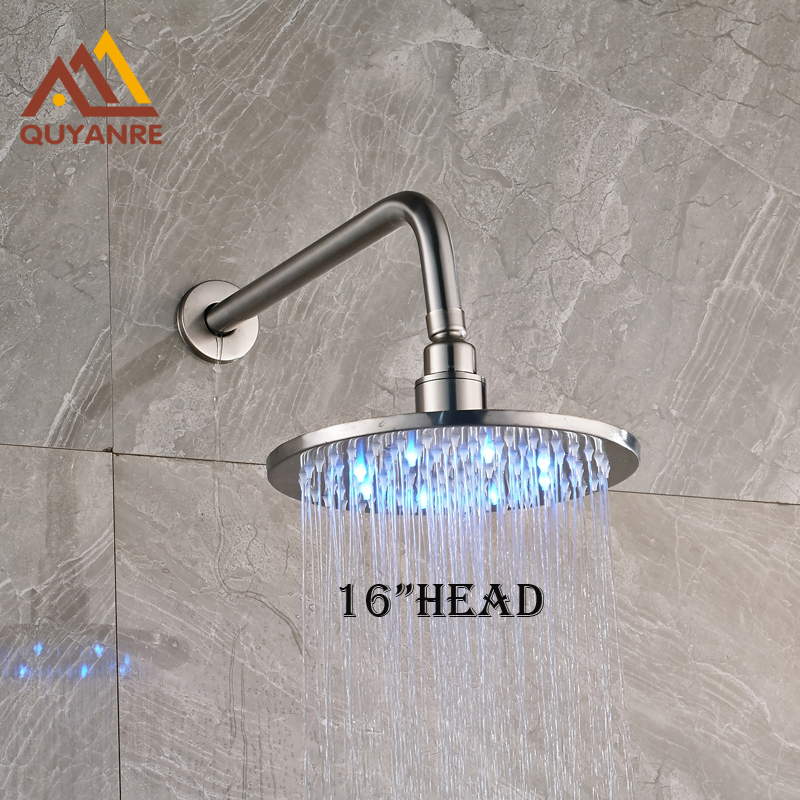 Stainleass Steel Brushed Nickle LED Shower Head and Arm 16 Inch Round Shape Single Head цены онлайн