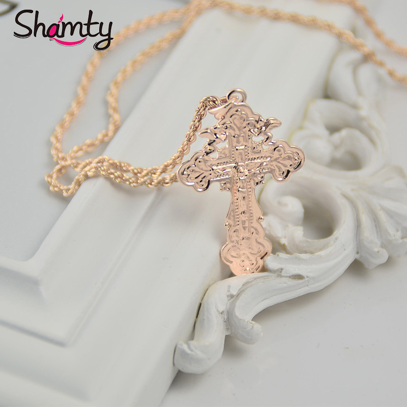 Shamty Top Quality Rose Gold Color Cross Pendant Necklace For Man Jesus Christian Jewelry Inspirational Free Shipping