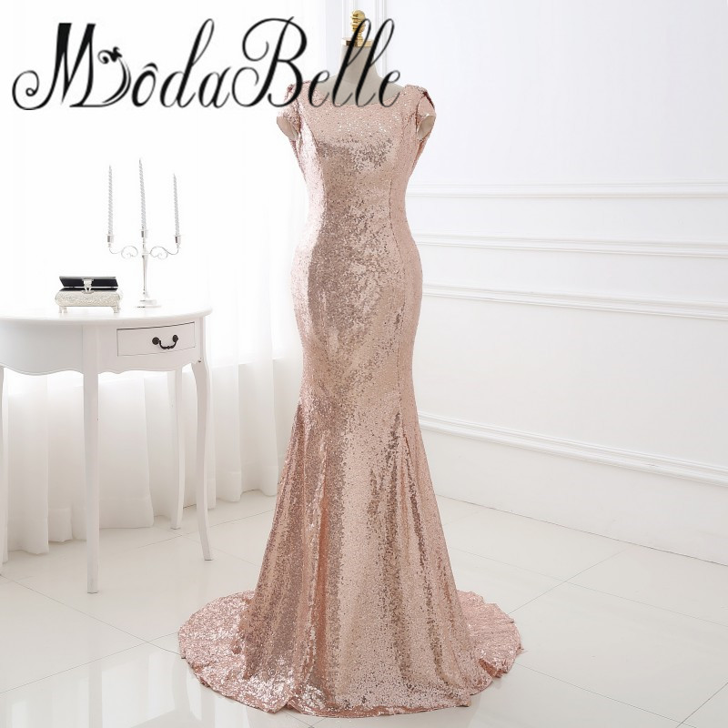 2017 Sparkly Long Mermaid Rose Gold Sequin Bridesmaid Dress